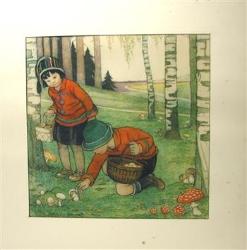 AUTUM - HERFST  Original drawing ( 32Cm x 32Cm. ). Hand Coloured.  Featuring :  Small Children picking mushrooms in a forrest / Kinderen plukken paddestoelen in het bos