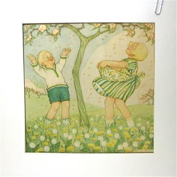 SPRING - LENTE : Original drawing ( 32Cm x 32Cm. ). Hand Coloured.  Featuring :  Small Children in spring with fruit blossom in an orchard/ Kinderen in het voorjaar met fruitbloesem in een boomgaard.