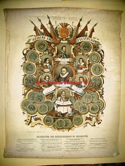 ( SCHOOLPLAAT ) Gedenk en feestplaat 1572 - 1872. Beschrijving der gedenkpenningen en noodmunten.